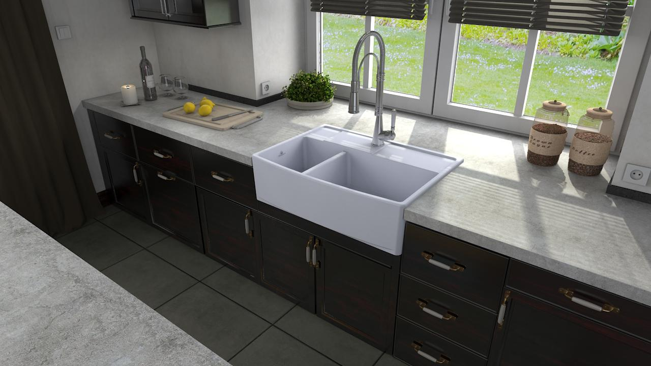 High-quality sink Clotaire III - one and a half bowl, ceramic - ambience