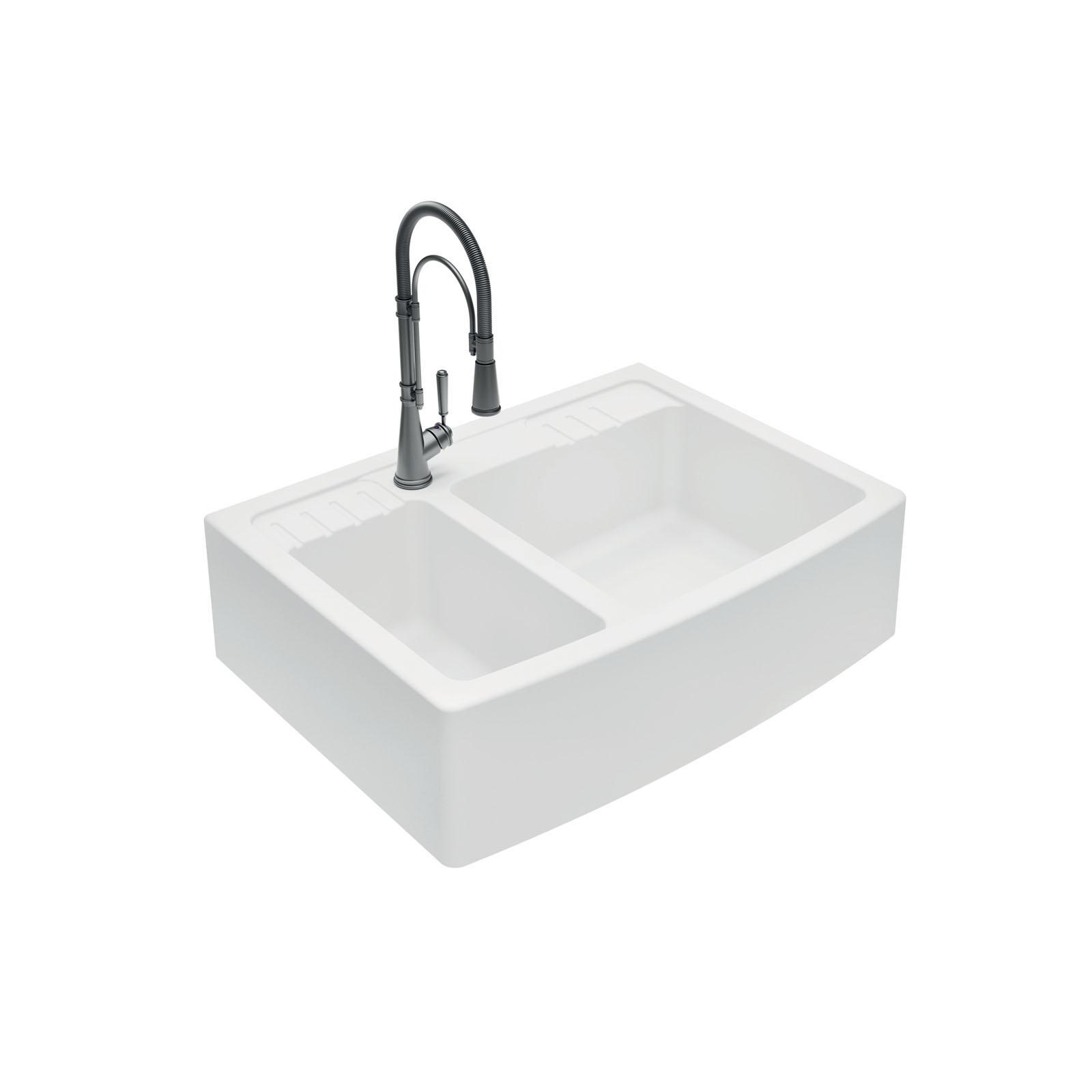 High-quality sink Clotaire III granit white - one and a half bowl - ambience 2