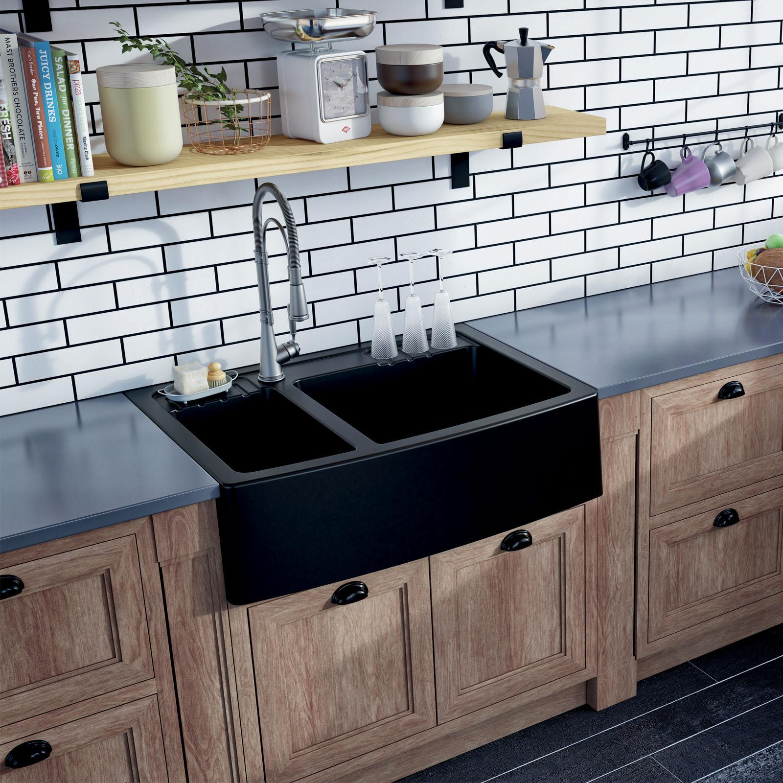 High-quality sink Clotaire III granit black - one and a half bowl - ambience