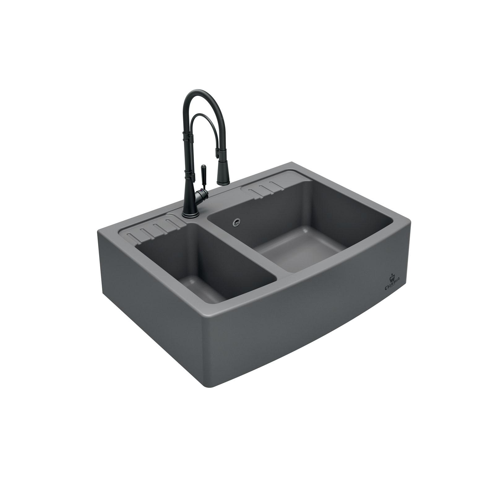 High-quality sink Clotaire III granit titanium - one and a half bowl