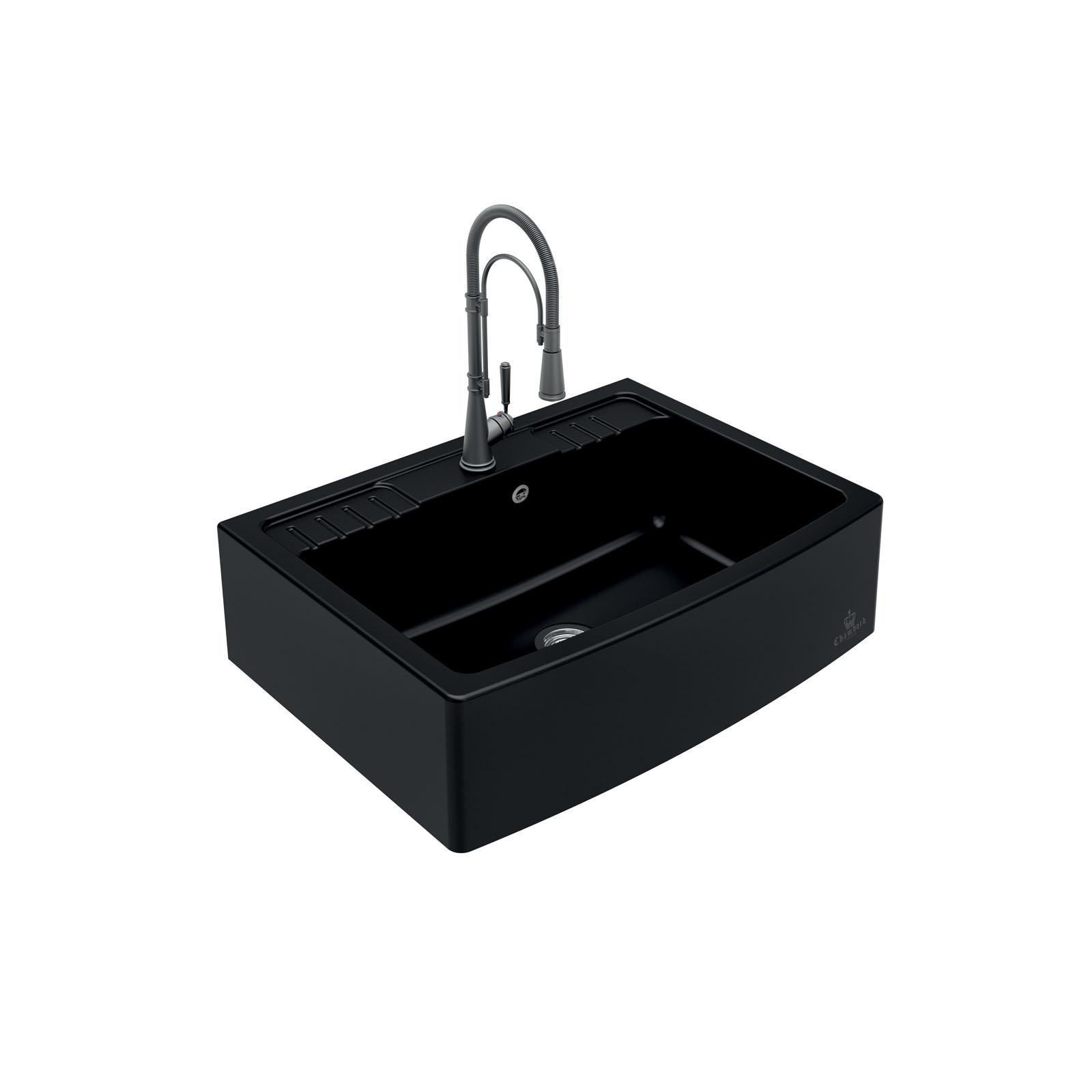 High-quality sink Clotaire IV granit black - one bowl