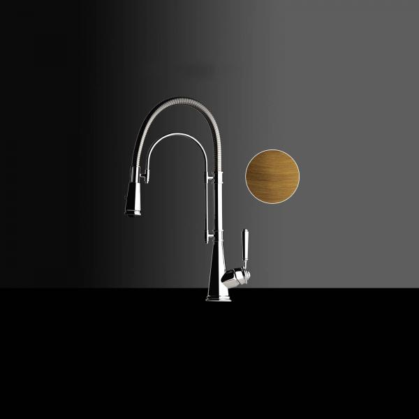 High-quality single lever tap Blaise - pull out spray - old bronze