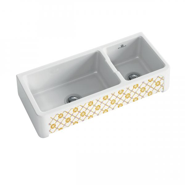 High-quality sink Henri III Provence - one and a half bowl, decorated ceramic ambience