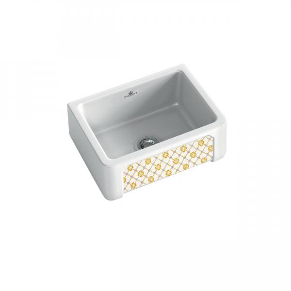 High-quality sink Henri I Provence - single bowl, decorated ceramic - ambience 1