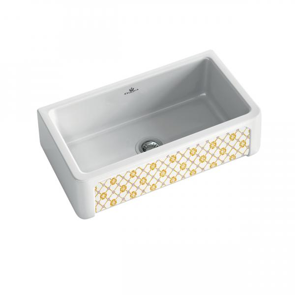 High-quality sink Henri II Provence - single bowl, decorated ceramic - ambience 1