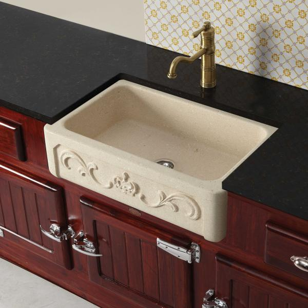 High-quality sink Childéric I - single bowl, vicenza stone - ambience 1