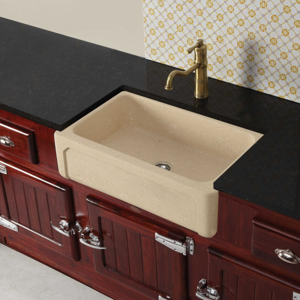 High-quality sink Childéric II - single bowl, vicenza stone - ambience
