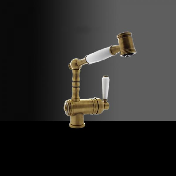 High-quality single lever tap Louise - pull out spray - Bronze